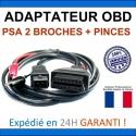 Adaptateur PSA 2 broches + pinces vers OBDII - Compatible avec Autel / Multidiag