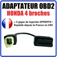 Connecteur diagnostic CABLE OBDII 4 broches VERS 16 pins - Pour HONDA - MOTO